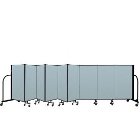 "Screenflex Portable Room Divider 9 Panel, 4'H x 16'9""L, Vinyl Color: Blue"