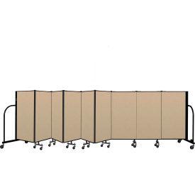 """Screenflex Portable Room Divider 9 Panel, 4'H x 16'9""""L, Vinyl Color: Oatmeal"""