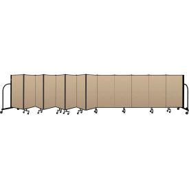 """Screenflex Portable Room Divider 13 Panel, 4'H x 24'1""""L, Vinyl Color: Oatmeal"""