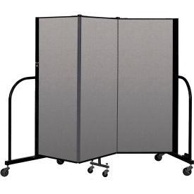 """Screenflex Portable Room Divider 3 Panel, 5'H x 5'9""""L, Vinyl Color: Gray"""
