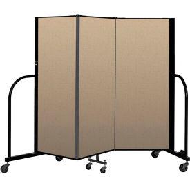 """Screenflex Portable Room Divider 3 Panel, 5'H x 5'9""""L, Vinyl Color: Oatmeal"""