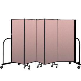 """Screenflex Portable Room Divider 5 Panel, 5'H x 9'5""""L, Vinyl Color: Mauve"""