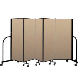 """Screenflex Portable Room Divider 5 Panel, 5'H x 9'5""""L, Vinyl Color: Oatmeal"""