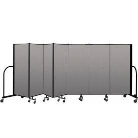 """Screenflex Portable Room Divider 7 Panel, 5'H x 13'1""""L, Vinyl Color: Gray"""