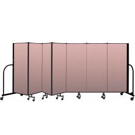 """Screenflex Portable Room Divider 7 Panel, 5'H x 13'1""""L, Vinyl Color: Mauve"""