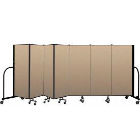 """Screenflex Portable Room Divider 7 Panel, 5'H x 13'1""""L, Vinyl Color: Oatmeal"""