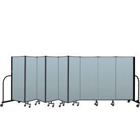 "Screenflex Portable Room Divider 9 Panel, 5'H x 16'9""L, Vinyl Color: Blue"