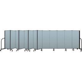 "Screenflex Portable Room Divider 13 Panel, 5'H x 24'1""L, Vinyl Color: Blue"