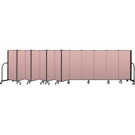 """Screenflex Portable Room Divider 13 Panel, 5'H x 24'1""""L, Vinyl Color: Mauve"""