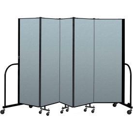 "Screenflex Portable Room Divider 5 Panel, 6'H x 9'5""L, Vinyl Color: Blue"