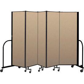 """Screenflex Portable Room Divider 5 Panel, 6'H x 9'5""""L, Vinyl Color: Oatmeal"""