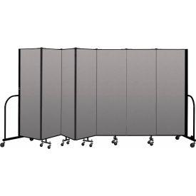 """Screenflex Portable Room Divider 7 Panel, 6'H x 13'1""""L, Vinyl Color: Gray"""