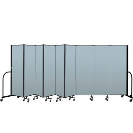 "Screenflex Portable Room Divider 9 Panel, 6'H x 16'9""L, Vinyl Color: Blue"