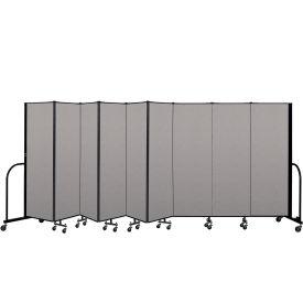 """Screenflex Portable Room Divider 9 Panel, 6'H x 16'9""""L, Vinyl Color: Gray"""