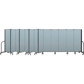 "Screenflex Portable Room Divider 13 Panel, 6'H x 24'1""L, Vinyl Color: Blue"