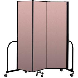 """Screenflex Portable Room Divider 3 Panel, 6'8""""H x 5'9""""L, Vinyl Color: Mauve"""