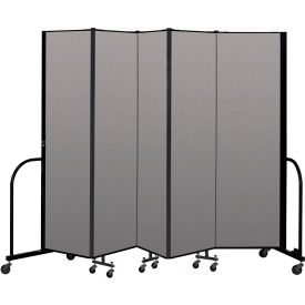 "Screenflex Portable Room Divider 5 Panel, 6'8""H x 9'5""L, Vinyl Color: Gray"