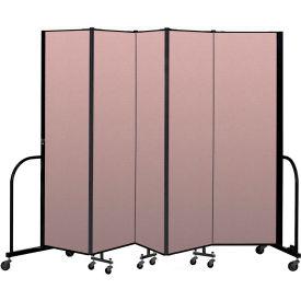 """Screenflex Portable Room Divider 5 Panel, 6'8""""H x 9'5""""L, Vinyl Color: Mauve"""