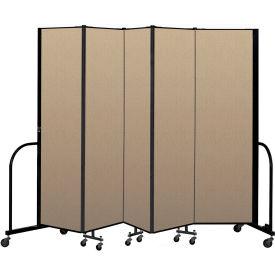 """Screenflex Portable Room Divider 5 Panel, 6'8""""H x 9'5""""L, Vinyl Color: Oatmeal"""