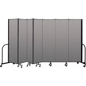 """Screenflex Portable Room Divider 7 Panel, 6'8""""H x 13'1""""L, Vinyl Color: Gray"""