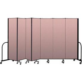 """Screenflex Portable Room Divider 7 Panel, 6'8""""H x 13'1""""L, Vinyl Color: Mauve"""