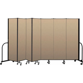 """Screenflex Portable Room Divider 7 Panel, 6'8""""H x 13'1""""L, Vinyl Color: Oatmeal"""