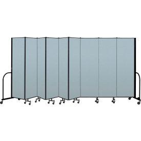 "Screenflex Portable Room Divider 9 Panel, 6'8""H x 16'9""L, Vinyl Color: Blue"