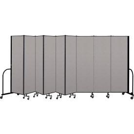 """Screenflex Portable Room Divider 9 Panel, 6'8""""H x 16'9""""L, Vinyl Color: Gray"""