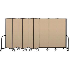 """Screenflex Portable Room Divider 9 Panel, 6'8""""H x 16'9""""L, Vinyl Color: Oatmeal"""