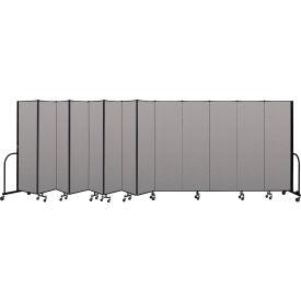 """Screenflex Portable Room Divider 13 Panel, 6'8""""H x 24'1""""L, Vinyl Color: Gray"""