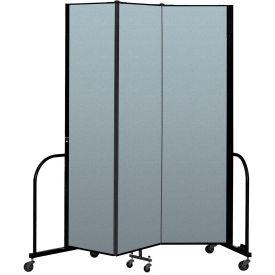 "Screenflex Portable Room Divider 3 Panel, 7'4""H x 5'9""L, Vinyl Color: Blue"