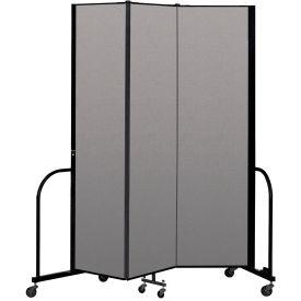 """Screenflex Portable Room Divider 3 Panel, 7'4""""H x 5'9""""L, Vinyl Color: Gray"""