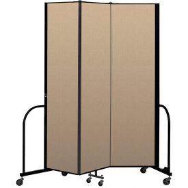 """Screenflex Portable Room Divider 3 Panel, 7'4""""H x 5'9""""L, Vinyl Color: Oatmeal"""