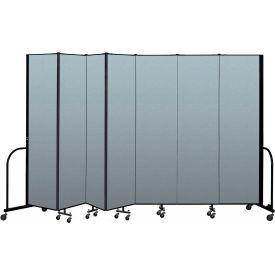 "Screenflex Portable Room Divider 7 Panel, 7'4""H x 13'1""L, Vinyl Color: Blue"