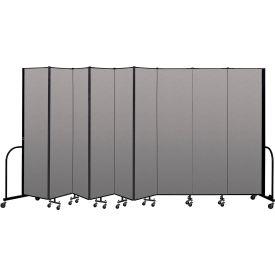 """Screenflex Portable Room Divider 9 Panel, 7'4""""H x 16'9""""L, Vinyl Color: Gray"""