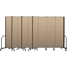 """Screenflex Portable Room Divider 9 Panel, 7'4""""H x 16'9""""L, Vinyl Color: Oatmeal"""