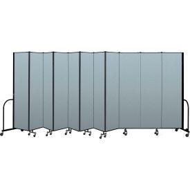"Screenflex Portable Room Divider 11 Panel, 7'4""H x 20'5""L, Vinyl Color: Blue"