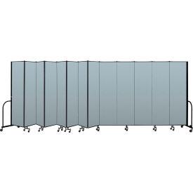 "Screenflex Portable Room Divider 13 Panel, 7'4""H x 24'1""L, Vinyl Color: Blue"