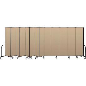 """Screenflex Portable Room Divider 13 Panel, 7'4""""H x 24'1""""L, Vinyl Color: Oatmeal"""