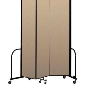 """Screenflex Portable Room Divider 3 Panel, 8'H x 5'9""""L, Vinyl Color: Oatmeal"""