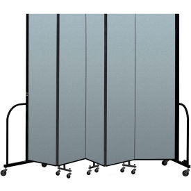 "Screenflex Portable Room Divider 5 Panel, 8'H x 9'5""L, Vinyl Color: Blue"