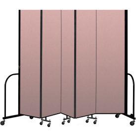 """Screenflex Portable Room Divider 5 Panel, 8'H x 9'5""""L, Vinyl Color: Mauve"""