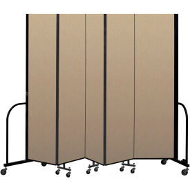 "Screenflex Portable Room Divider 5 Panel, 8'H x 9'5""L, Vinyl Color: Oatmeal"