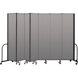 """Screenflex Portable Room Divider 7 Panel, 8'H x 13'1""""L, Vinyl Color: Gray"""