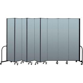 "Screenflex Portable Room Divider 9 Panel, 8'H x 16'9""L, Vinyl Color: Blue"