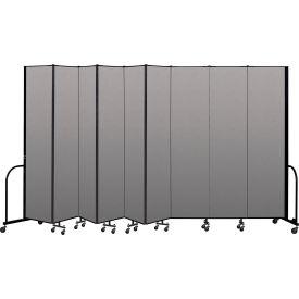 """Screenflex Portable Room Divider 9 Panel, 8'H x 16'9""""L, Vinyl Color: Gray"""