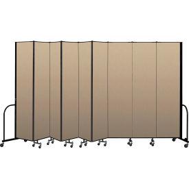 """Screenflex Portable Room Divider 9 Panel, 8'H x 16'9""""L, Vinyl Color: Oatmeal"""