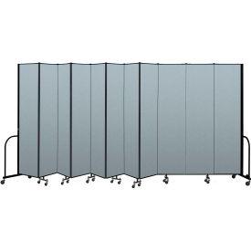 "Screenflex Portable Room Divider 11 Panel, 8'H x 20'5""L, Vinyl Color: Blue"