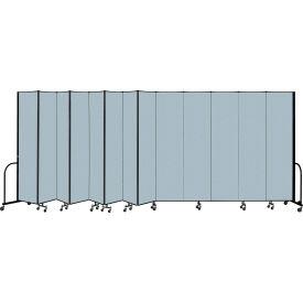 "Screenflex Portable Room Divider 13 Panel, 8'H x 24'1""L, Vinyl Color: Blue"