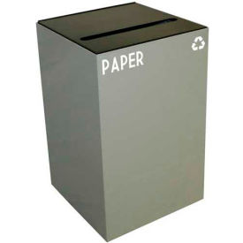 Steel Recycling Container with Paper Slot Opening - 24 Gallon Capacity Gray